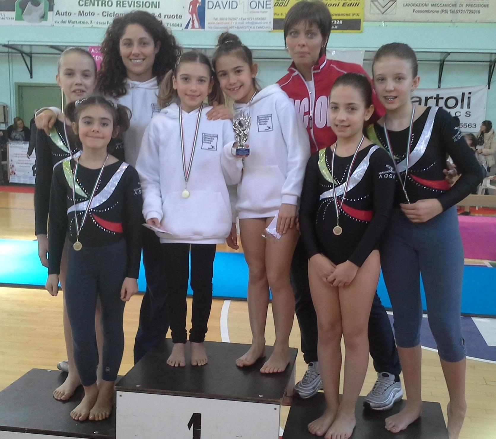 Le ragazze della Coppa Italia con le allenatrici Silvia Alcidi (sin) e Nadia Baldoni (dx)